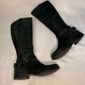Clark's Tall Black Suede Belted Riding Boots